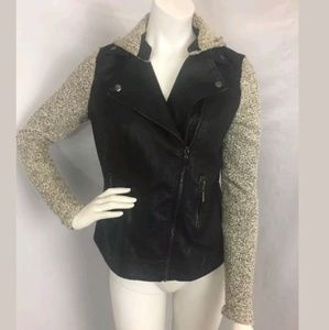 3 Sisters Faux Leather Moto Jacket Hooded Sz Small